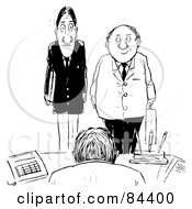 Royalty Free RF Clipart Illustration Of A Black And White Sketch Of Two Nervous Employees Standing Before Their Boss