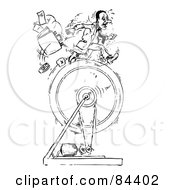 Royalty Free RF Clipart Illustration Of A Black And White Sketch Of A Businessman Running On A Ring Dropping His Items