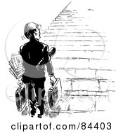 Royalty Free RF Clipart Illustration Of A Black And White Sketch Of A Businessman Looking Up At A Tall Staircase by Alex Bannykh
