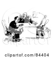 Royalty Free RF Clipart Illustration Of A Black And White Sketch Of A Boss Pointing To An Ax
