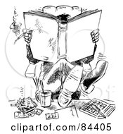 Royalty Free RF Clipart Illustration Of A Black And White Sketch Of A Businessman Smoking His Legs Up On His Desk And Reading A Book by Alex Bannykh