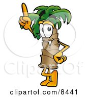Clipart Picture Of A Palm Tree Mascot Cartoon Character Pointing Upwards