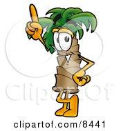Palm Tree Mascot Cartoon Character Pointing Upwards