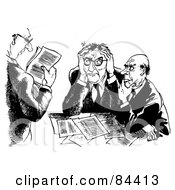 Royalty Free RF Clipart Illustration Of A Black And White Sketch Of Three Tired Businessman Going Over Documents