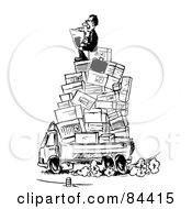 Royalty Free RF Clipart Illustration Of A Black And White Sketch Of A Business Man Reading A Newspaper On Top Of A Pile Of Boxes In A Truck by Alex Bannykh