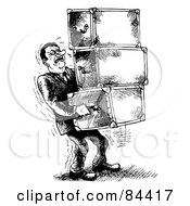 Black And White Sketch Of A Sweaty Man Carrying Heavy Chests