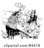 Royalty Free RF Clipart Illustration Of A Black And White Sketch Of An Angry Receptionist Freaking Out At Her Stumped Boss by Alex Bannykh