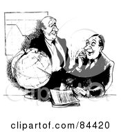 Royalty Free RF Clipart Illustration Of A Black And White Sketch Of Businessmen Talking Around A Globe And Chart