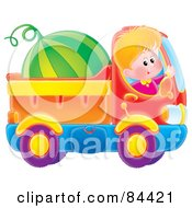 Royalty Free RF Clipart Illustration Of A Happy Boy Waving And Driving A Watermelon In A Dump Truck by Alex Bannykh