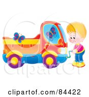 Royalty Free RF Clipart Illustration Of A Butterflies Fluttering Around A Boy Crank Starting His Dump Truck by Alex Bannykh