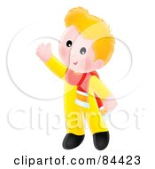 Royalty Free RF Clipart Illustration Of A Happy Blond Boy Wearing A Scarf And Waving by Alex Bannykh