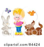 Royalty Free RF Clipart Illustration Of A Little Boy With A Butterfly Bird Rabbit And Dog