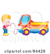 Little Boy Pulling His Dump Truck With A String