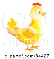 Royalty Free RF Clipart Illustration Of A Happy Yellow Airbrushed Chicken by Alex Bannykh