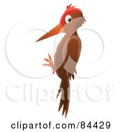 Royalty Free RF Clipart Illustration Of An Airbrushed Woodpecker In A Vertical Position by Alex Bannykh