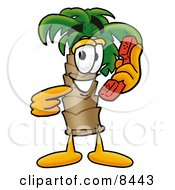 Clipart Picture Of A Palm Tree Mascot Cartoon Character Holding A Telephone