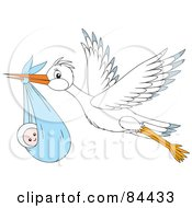 Royalty Free RF Clipart Illustration Of A Flying White Stork With A Baby Boy In A Sack