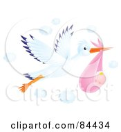 Royalty Free RF Clipart Illustration Of A Flying Airbrushed Stork With A Baby Girl by Alex Bannykh