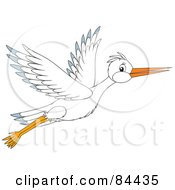Royalty Free RF Clipart Illustration Of A White Stork Bird In Flight