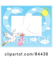 Royalty Free RF Clipart Illustration Of A Horizontal Border Of A Stork Flying A Baby Girl With Clouds And The Sun With White Space by Alex Bannykh