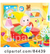 Royalty Free RF Clipart Illustration Of A Happy Little Elf Reading A Book In A Living Room by Alex Bannykh