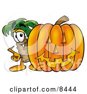 Palm Tree Mascot Cartoon Character With A Carved Halloween Pumpkin