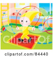 Little Elf Child Jumping Rope In A Play Room