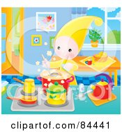 Royalty Free RF Clipart Illustration Of A Little Elf Cooking On A Stove