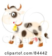 Royalty Free RF Clipart Illustration Of A Happy Airbrushed Cow Wearing A Bell by Alex Bannykh
