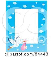 Royalty Free RF Clipart Illustration Of A Vertical Cloudy Blue Sky And Stork Carrying A Baby Girl Border Around White Space