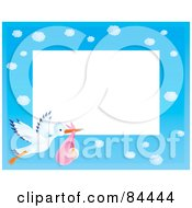 Royalty Free RF Clipart Illustration Of A Horizontal Cloudy Blue Sky And Stork Carrying A Baby Girl Border Around White Space