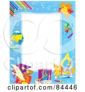 Royalty Free RF Clipart Illustration Of A Vertical Educational Border With Leaves Pencils And Other School Objects Around White Space by Alex Bannykh