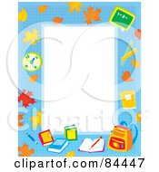 Royalty Free RF Clipart Illustration Of A Vertical Educational Border With Leaves A Clock Books And Backpack Around White Space by Alex Bannykh