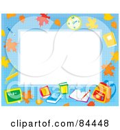 Royalty Free RF Clipart Illustration Of A Horizontal Educational Border With Leaves A Clock Books And Backpack Around White Space