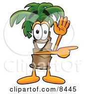 Clipart Picture Of A Palm Tree Mascot Cartoon Character Waving And Pointing