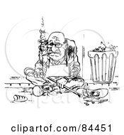 Royalty Free RF Clipart Illustration Of A Black And White Sketch Of A Broke Man Smoking A Cigarette And Wearing A Blank Sign By A Trash Can