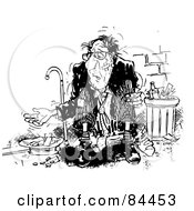 Royalty Free RF Clipart Illustration Of A Black And White Sketch Of A Beat Up Old Man Begging For Money On A Sidewalk