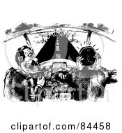 Royalty Free RF Clipart Illustration Of A Black And White Sketch Of Pilots Nearing The End Of The Runway Freaking Out by Alex Bannykh