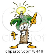 Clipart Picture Of A Palm Tree Mascot Cartoon Character With A Bright Idea