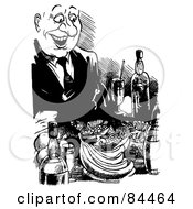 Royalty Free RF Clipart Illustration Of A Black And White Sketch Of A Happy Man Feasting by Alex Bannykh