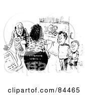 Royalty Free RF Clipart Illustration Of A Black And White Sketch Of A Stern Woman Lecturing Her Sons And Husband by Alex Bannykh