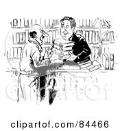 Black And White Sketch Of A Kind Man Selling Books