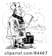 Royalty Free RF Clipart Illustration Of A Black And White Sketch Of A Salesman Skiing In The Snow by Alex Bannykh