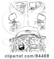 Royalty Free RF Clipart Illustration Of A Black And White Sketch Of A Man Driving Towards A Fork In The Road by Alex Bannykh