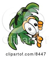 Clipart Picture Of A Palm Tree Mascot Cartoon Character Peeking Around A Corner
