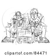 Royalty Free RF Clipart Illustration Of A Black And White Sketch Of A Couple Reading And Knitting On A Couch In Front Of A Television