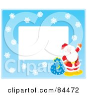 Royalty Free RF Clipart Illustration Of A Horizontal Christmas Border Of Snowflakes And Santa Around White Space
