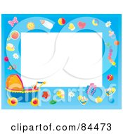 Royalty Free RF Clipart Illustration Of A Horizontal Baby Border With Baby Objects And A Carriage Around White Space by Alex Bannykh