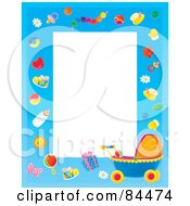 Royalty Free RF Clipart Illustration Of A Vertical Baby Border With Baby Objects And A Carriage Around White Space by Alex Bannykh