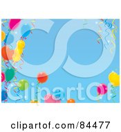 Royalty Free RF Clipart Illustration Of A Blue Sky Background With A Border Of Colorful Party Balloons And Ribbons
